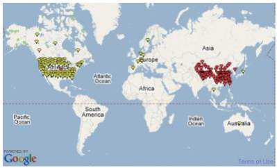 Mapa ataków wykorzystujących lukę w przetwarzaniu przez Windows plików .ani (źródło: Websense)