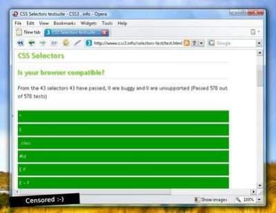 Test selektorów CSS3 - źródło Opera Desktop Team Blog