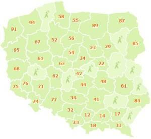 Na mapce widać strefy numerów, które można przypisać do numeru GG