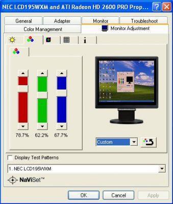 Oprogramownia NaviSet pozwala sterować ustawieniami monitora z poziomu systemu operacyjnego Windows