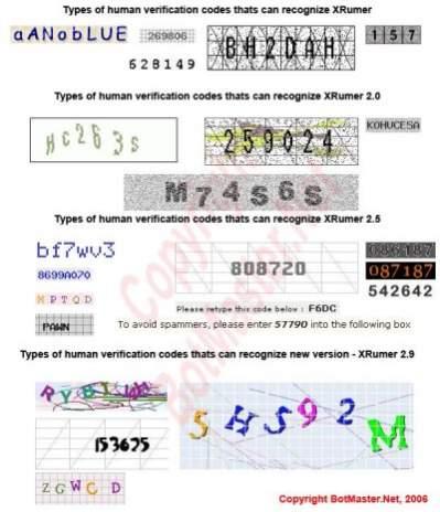 Obrazki CAPTCHA rozpoznawane przez starsze wersje mechanizmu XRumer (źródło: BotMaster.net)
