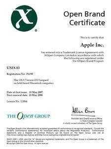 Certyfikat UNIX 03 dla MacOS X 10.5 Leopard
