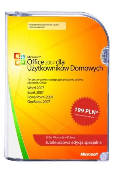 Pudełko jubileuszowego Microsoft Office 2007