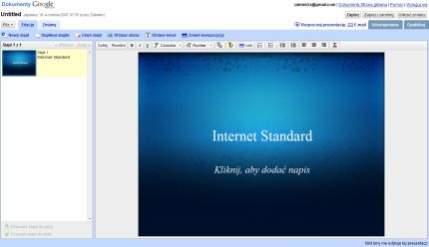 Dokumenty Google, polska wersja aplikacji do prezentacji