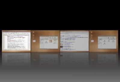 Ubuntu z uaktywnionym efektem Expo. Użytkownik ma dostęp do wszystkich czterech pulpitów, uwagę zwracają ozdobniki okien przypominające te w systemie Windows Vista