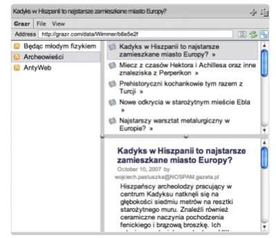 Widok zarejestrowanych w widżecie blogów, w trybie trzech paneli (three pane).