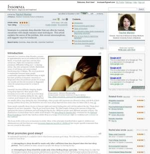 Przykładowa strona Google Knol. Na widocznym miejscu znajduje się zdjęcie autora, po prawej stronie widać reklamy Google AdSense.