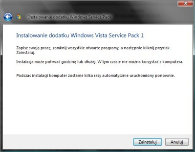 Galeria: Vista Service Pack 1 (SP1) PL