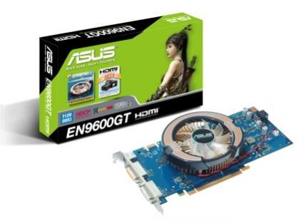 Kartę ASUSA z procesorem GeForce 9600 GT wyposażono w firmowy układ chłodzenia pracujący nieco ciszej niż jednoslotowy cooler wzorcowy