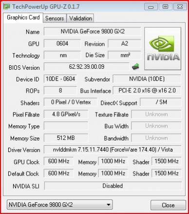 Parametry techniczne modelu GeForce 9800 GX2