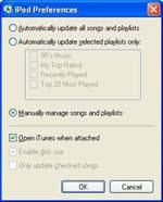Okno ustawiania automatycznej synchronizacji iPoda mini z aplikacją iTunes